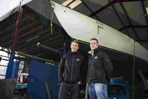 Skipper Trevor Murphy (right) with Charlie Wroe of Asgard Yachts