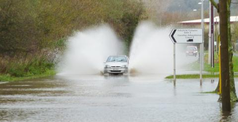 Heavy rain causes problems on Cornwall's roads
