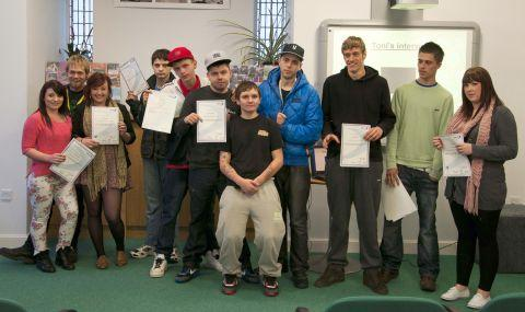 The teenagers with their certificates after completing the Freestyle programme.