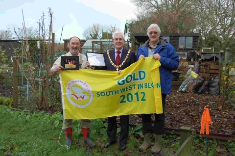 Mayor Geoffrey Evans with Tom Greenaway and Robin Waddling of the Falmouth and District Allotments and Gardens Society