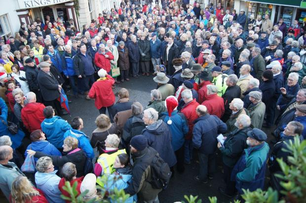 Hundreds of spectators gathered in Falmouth to hear the Harmony Choir perform their annual Christmas Eve concert.           Picture and videos: RON CAMERON