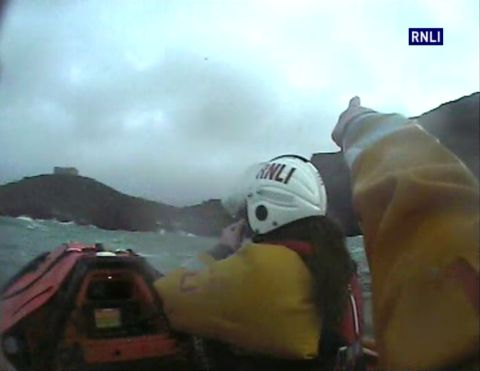 The Port Isaac RNLI team search the stormy waters off Tintagel Head. Credit: RNLI/Matt Main