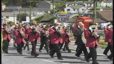 Porthleven Town Band perform in one of the St Peterstide marches
