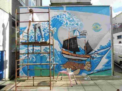 Falmouth Marine School mural shows colourful view of life at college