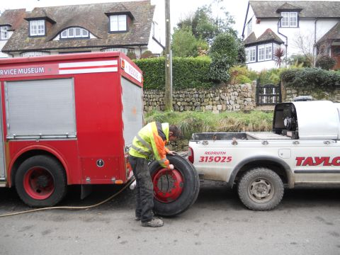 Falmouth Packet: Fire Engine Falmouth North Parade Tyre Change 4