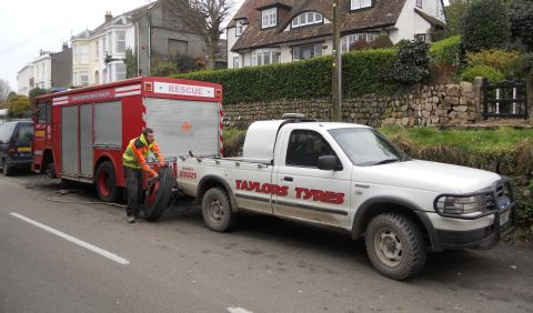 Falmouth Packet: Fire Engine North Parade Tyre Change 5