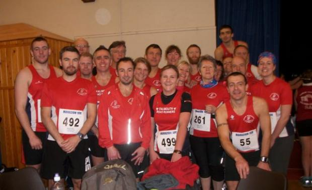 Falmouth Road Runners pose for the camera in Marazion