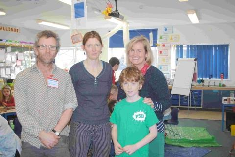 Alan Munden with his son, Billy and wife, Jude, who are now in Gambia, and head teacher, Heather Taylor