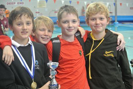 Penryn College swimmers (Left to right) Jack Lushington, Byron Wood, Jack Rogers and Euan Dungavel