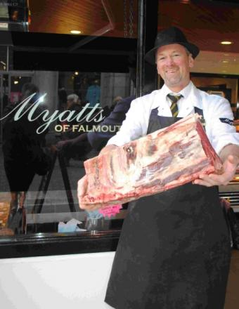 Butcher Martin Tonkin, from Myatts of Falmouth, with a primal cut of beef