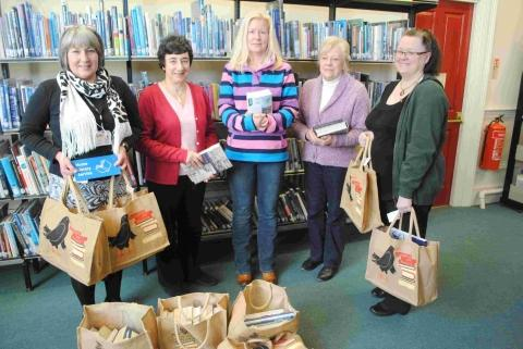 Sue Pavey, service manager for the WRVS; volunteers Denise Birch, Karin Saunders and Jean Lee with Jayne Cardew senior library and information assistant