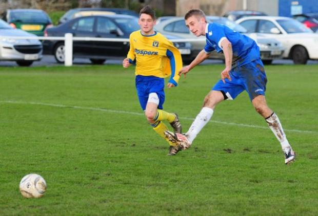 Mark Goldsworthy scored a brace for Helston against Tavistock on Wednesday night