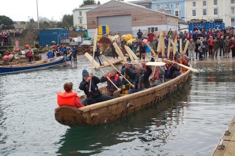 Bronze age boat launches in Falmouth: See how it was built: VIDEOS