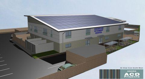 A computer generated image of the proposed new veterinary hospital in Penryn