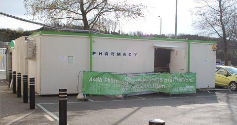 The makeshift pharmacy in the car park of Asda Penryn