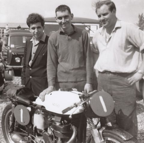 "John ""Flash"" Carter (middle), friend John Thompson (left) and mechanic John Ball, with the 350 Manx Norton race bike owned by Flash in the 1960s."