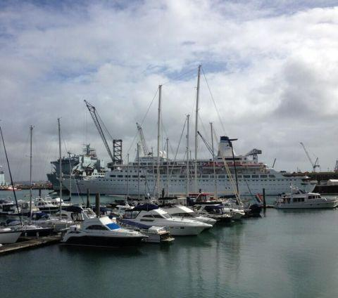 Falmouth Packet: The cruise ship Discovery in the harbour. Credit: Zizzi Falmouth