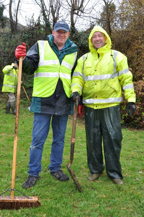 Rob Williams and Andy Perry from the Helston Business Improvement Partnership brave the weather for the clean up. Photo: Christine Hosey