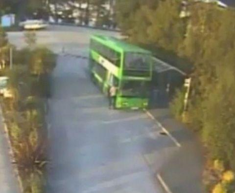 Falmouth Packet: A still of the CCTV showing Pentecost releasing the bus handbrake