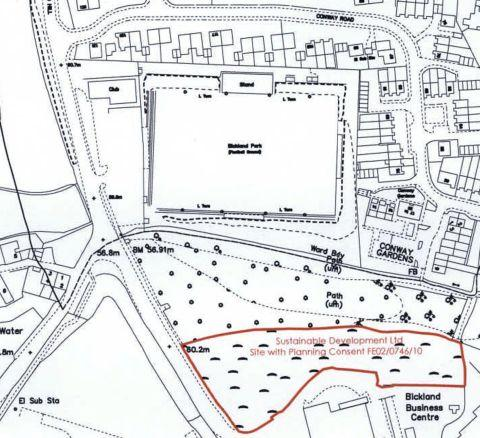The proposals are for land to the south of Bickland Park football ground