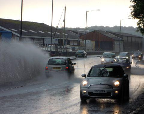 Commercial Road in Penryn was inundated with surface water