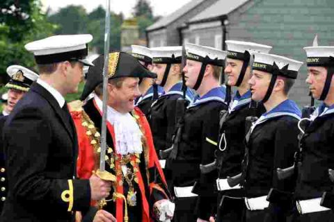 Swords drawn, bayonets fixed, bands playing and colours flying for Freedom of Helston Parade: VIDEO