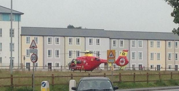 This shot of the air ambulance posted on Twitter by @kelvincurnow.