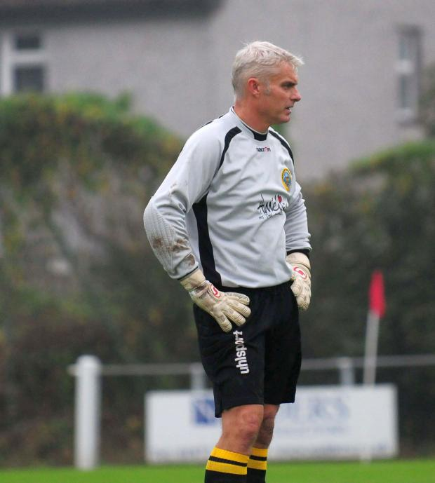 Falmouth Packet: Porthleven manager Dennis Annear made several fine saves during Saturday's game