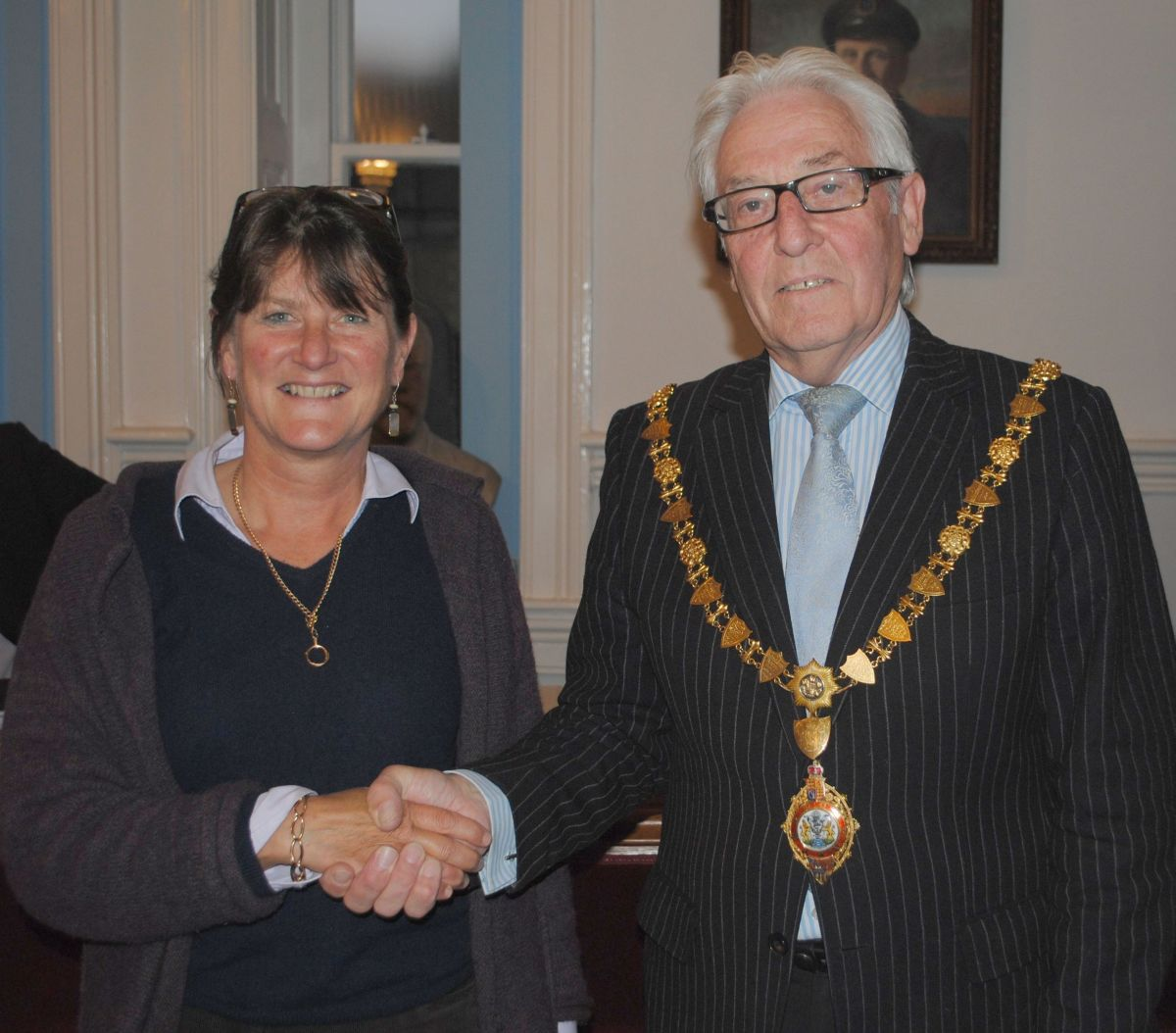 New director Henrietta Boex is welcomed by Falmouth mayor Geoffrey Evans