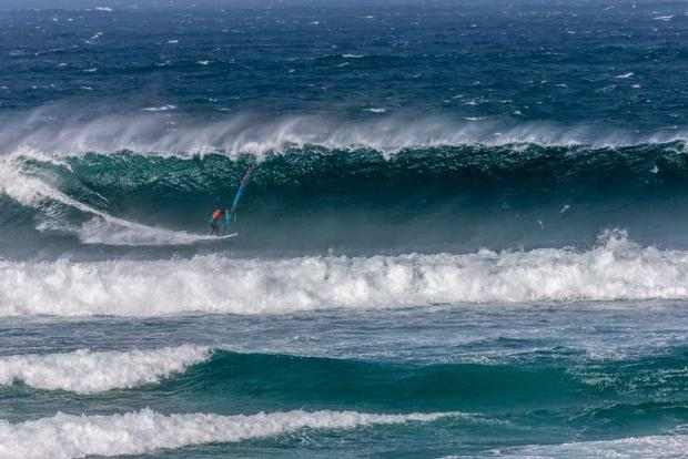 Storm conditions for 'Wave Classic' windsurfing competition at Gwithian: PICTURES