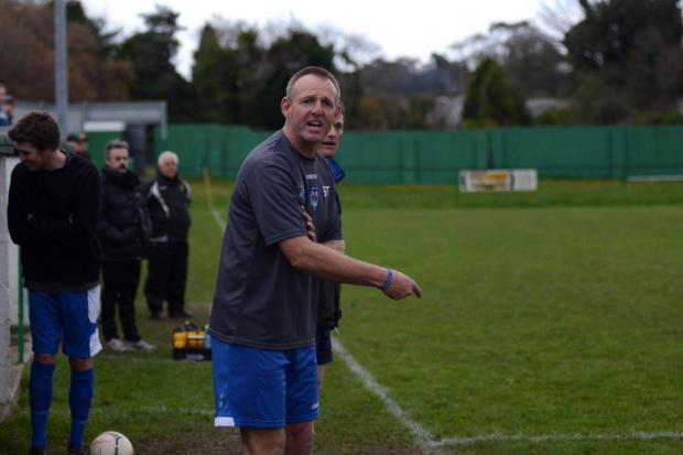 Sid Taylor pictured during Helston's Senior Cup exit at St Blazey