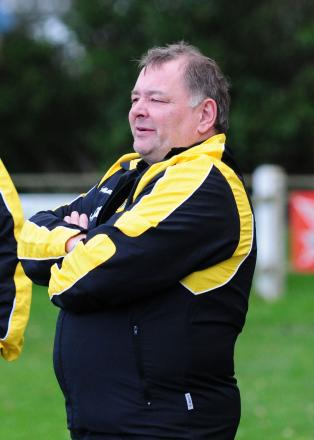 Porthleven manager Anthony 'Boots' Roberts looks on as his side play out a 0-0 draw with Falmouth Athletic.
