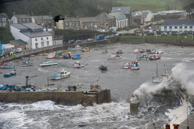 Porthleven battles to save boats as inner harbour breached