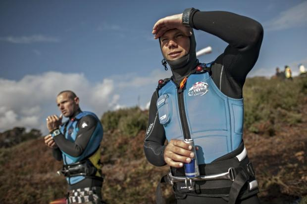 (L-R) Julian Taboulet from France and Leon Jamaer from Germany wait for their heat at the Mission 2 of the Red Bull Storm Chase in Marrawah at the Back of Lighthouse, Tasmania on August 19 2013. Photographer CreditSebastian Marko/Red Bull C