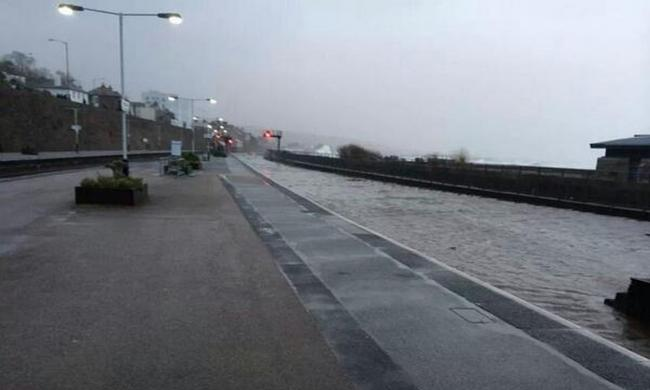 High water levels at Penzance station during the wild weather
