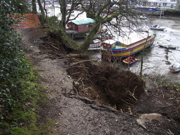 Popular Penryn path closed after landslides. Pictures: Pip Carlton Barnes