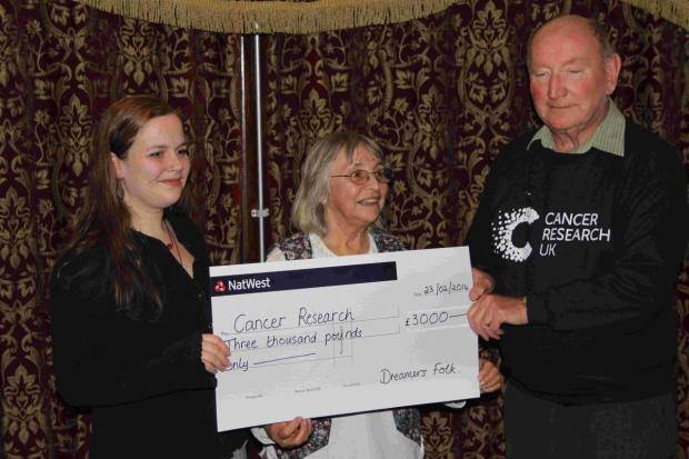 Kitty and Polly Timmins present the cheque to John Buddle