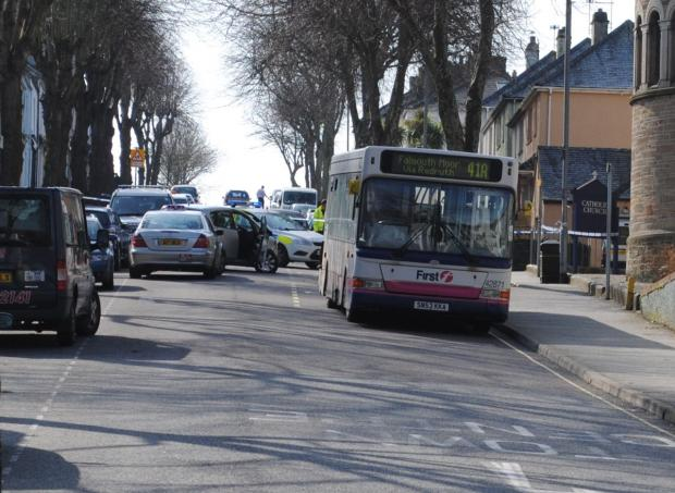 Driver in serious condition following collision with bus on Killigrew Street