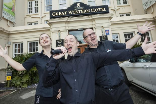 Great Western Hotel staff warm up for their shot at fame. L-R: Janine Rodger, Leon Pritchard and Ian Rabey