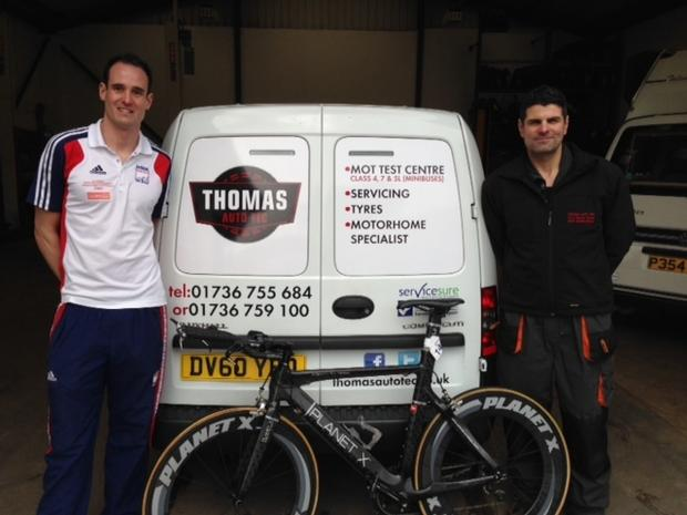 Falmouth Packet: Mark Lewarne (left) with sponsor Mark Thomas