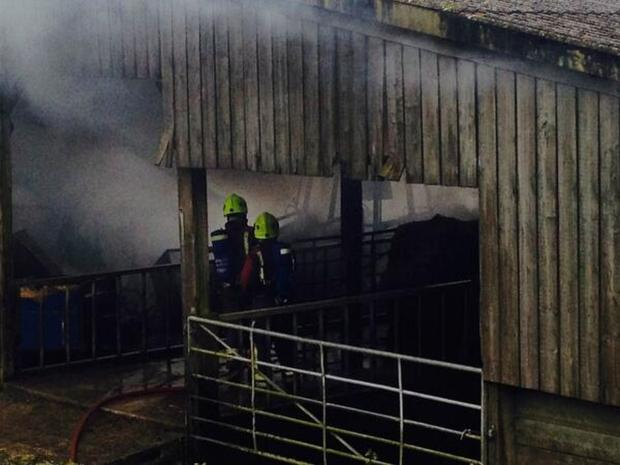 Firefighters tackle large barn fire at Tresillian