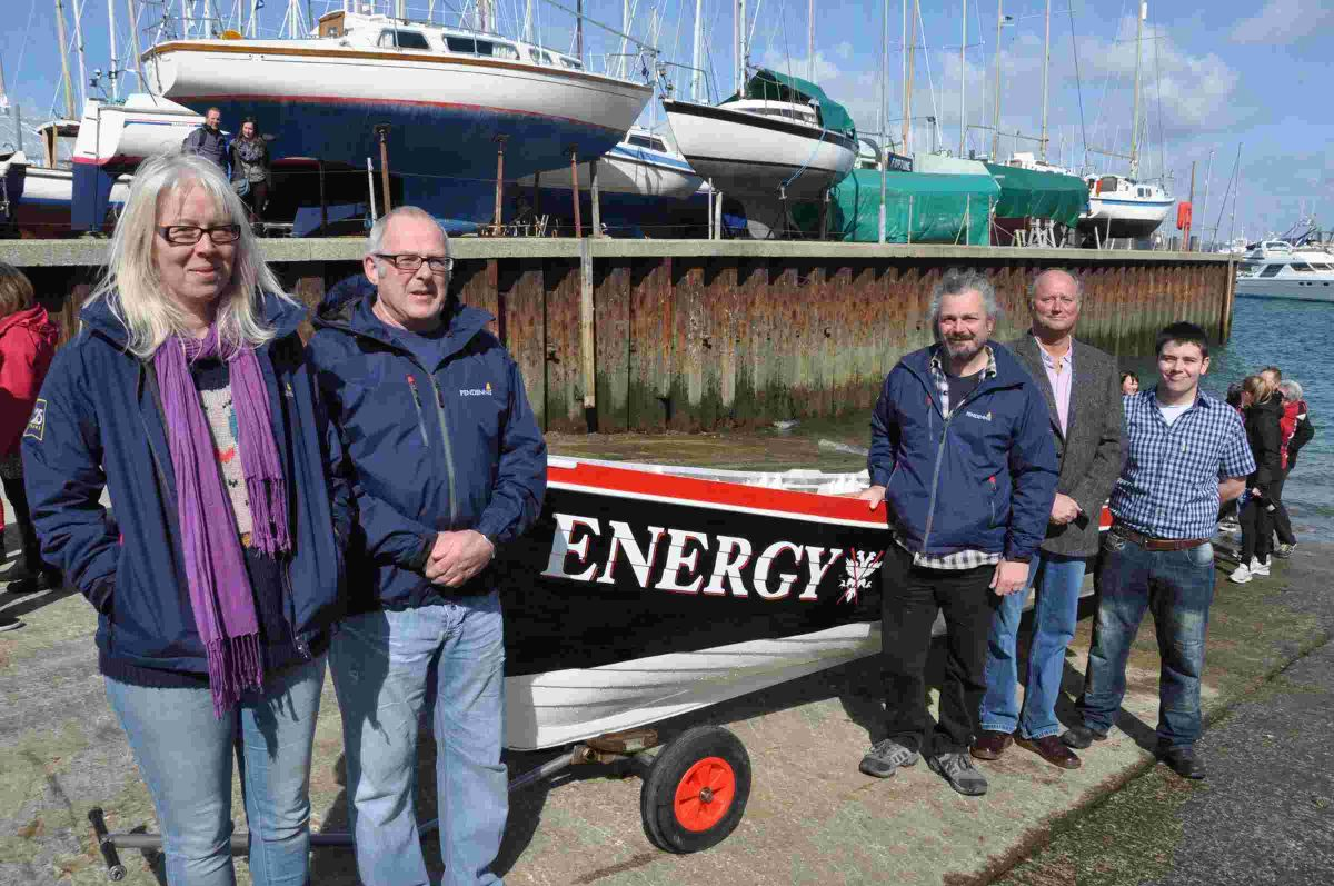 The team from Pendennis Shipyard where Energy was repaired and refurbished. Left to right are: Cathie McWatt, Howard Chapman, Nick Voning, George Moore and David Wills. Not pictured is team member Allan Blakely