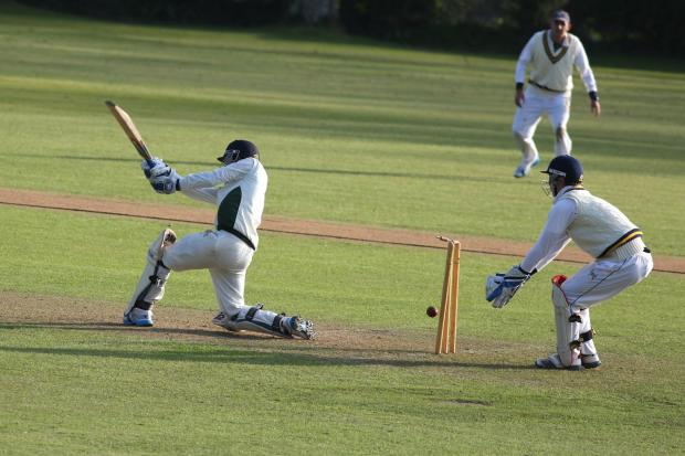 Anup Revandkar, Falmouth's last wicket, is bowled out for 56. Picture: Tom Sandberg/CartelPhotos