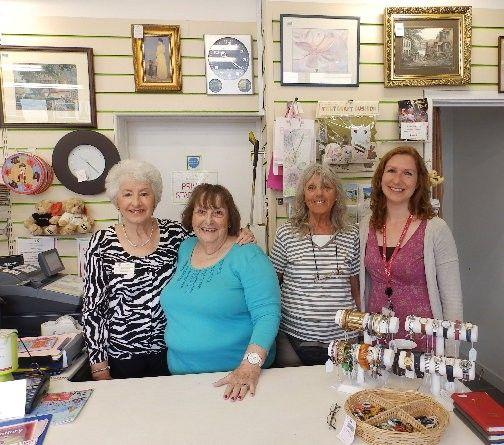 Hayle shop volunteer Margaret Weirs (left), with colleagues Elizabeth Lucas and Joyce Hindle and Cornwall Hospice Care Volunteer Services Coordinator Becky Rust
