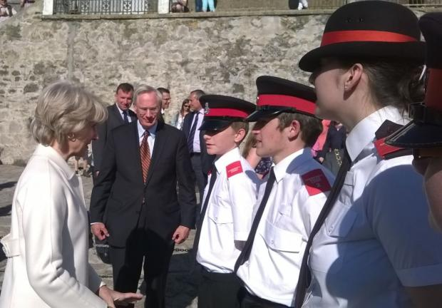 Falmouth Packet: The Duke and Duchess of Gloucester speak to Helston police cadets