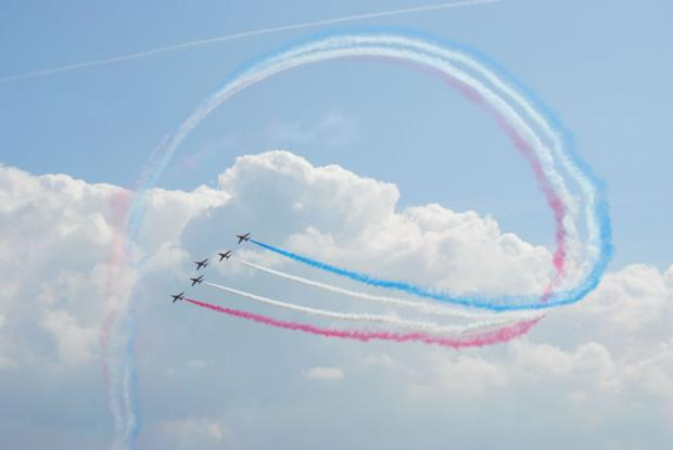 Red Arrows soar over Falmouth Bay: PICTURES