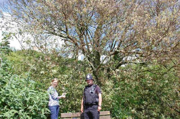 PC Hocking and Falmouth MP Sarah Newton visit the scene of the poisoning