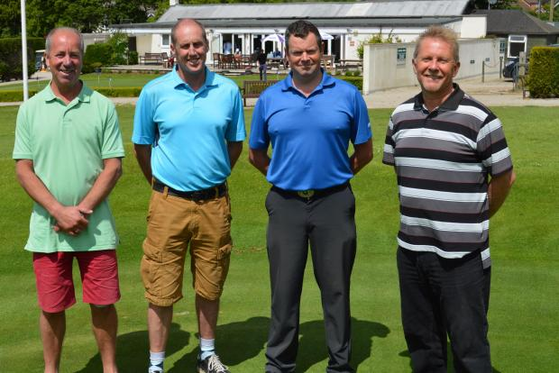 E.T.S. cup winners, from left to right: Clive Ahrens, Simon Cooper and Andy Kemp with Falmouth Golf Club Captain Lucien Trathen