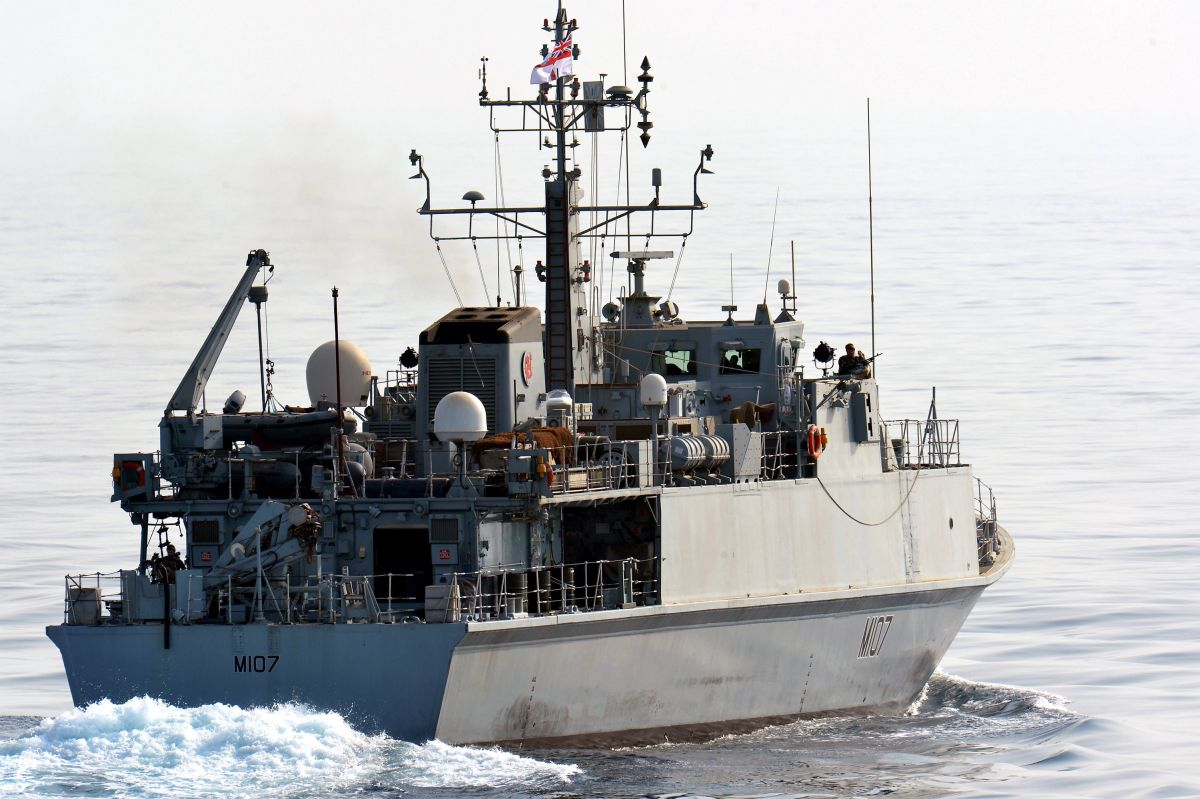 Royal Navy minehunter destroys 300lbs mine dredged up by fishing boat off Falmouth