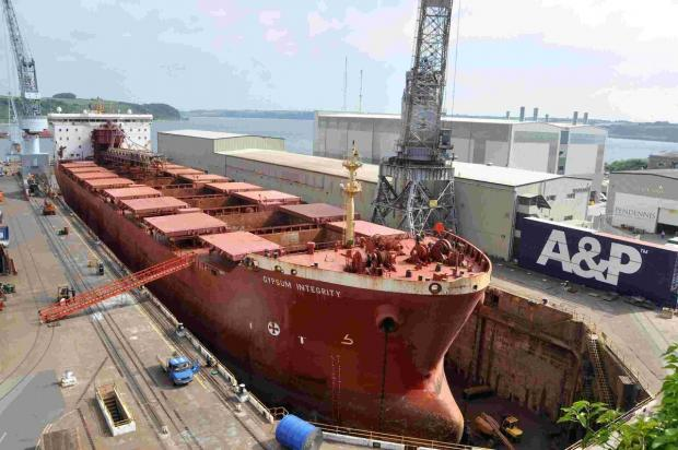 Bulk carrier docks in Falmouth for repairs: PICTURE